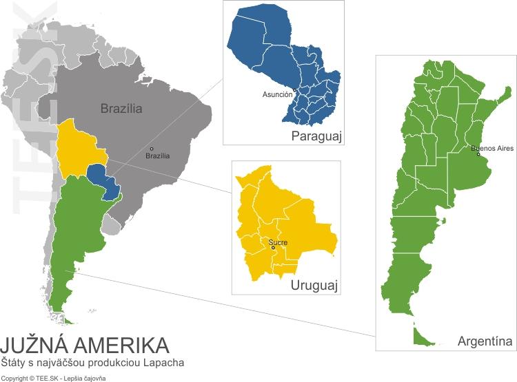 Mapa produkcie Lapcha, Južná Amerika, Paraguaj, Bolívia, Argentina, Brazília TEE.SK