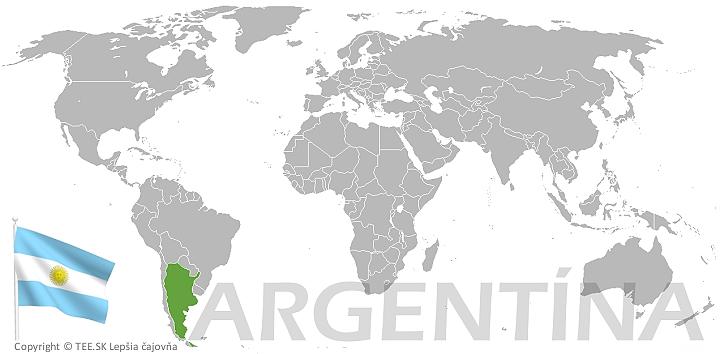 Argentína na mape sveta TEE.SK