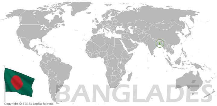 Bangladéš na mape sveta TEE.SK