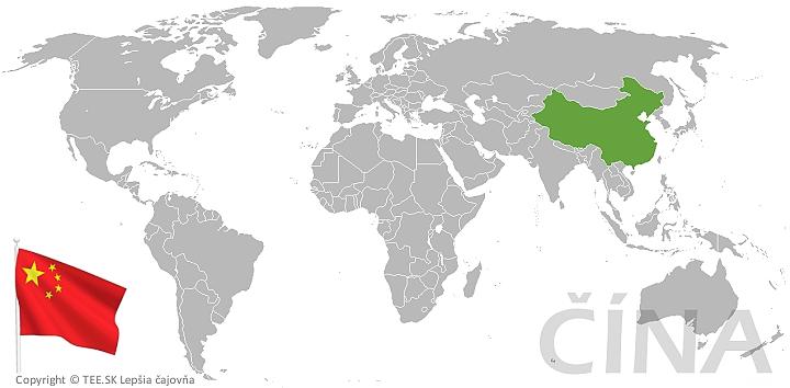 Čína na mape sveta TEE.SK