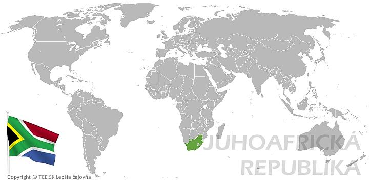 Juhoafrická republika na mape sveta TEE.SK