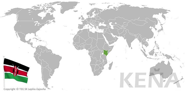 Keňa na mape sveta TEE.SK