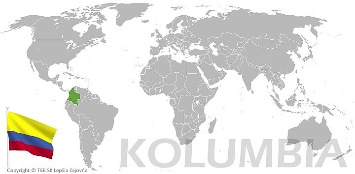 Kolumbia na mape sveta TEE.SK