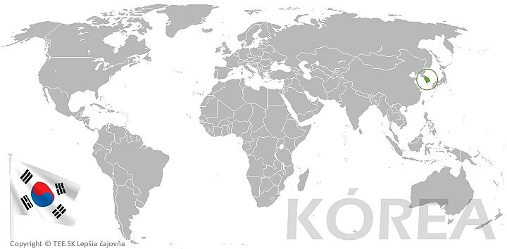 Kóreal na mape sveta TEE.SK