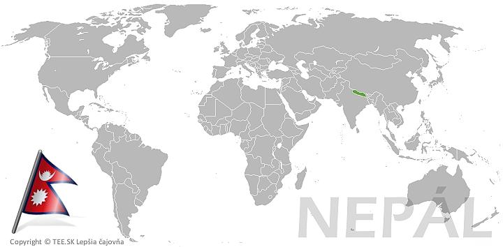 Nepál na mape sveta TEE.SK