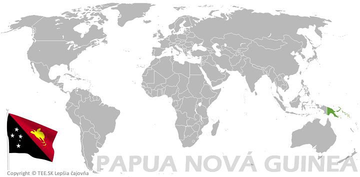 Papua Nová Guinea na mape sveta TEE.SK
