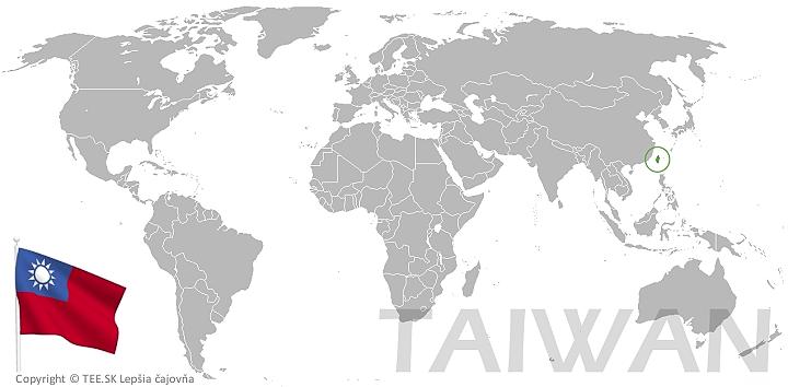 Taiwan na mape sveta TEE.SK